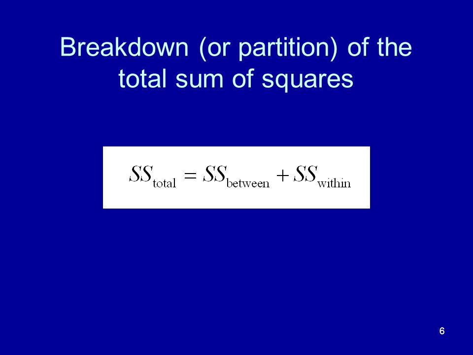 Breakdown (or partition) of the total sum of squares