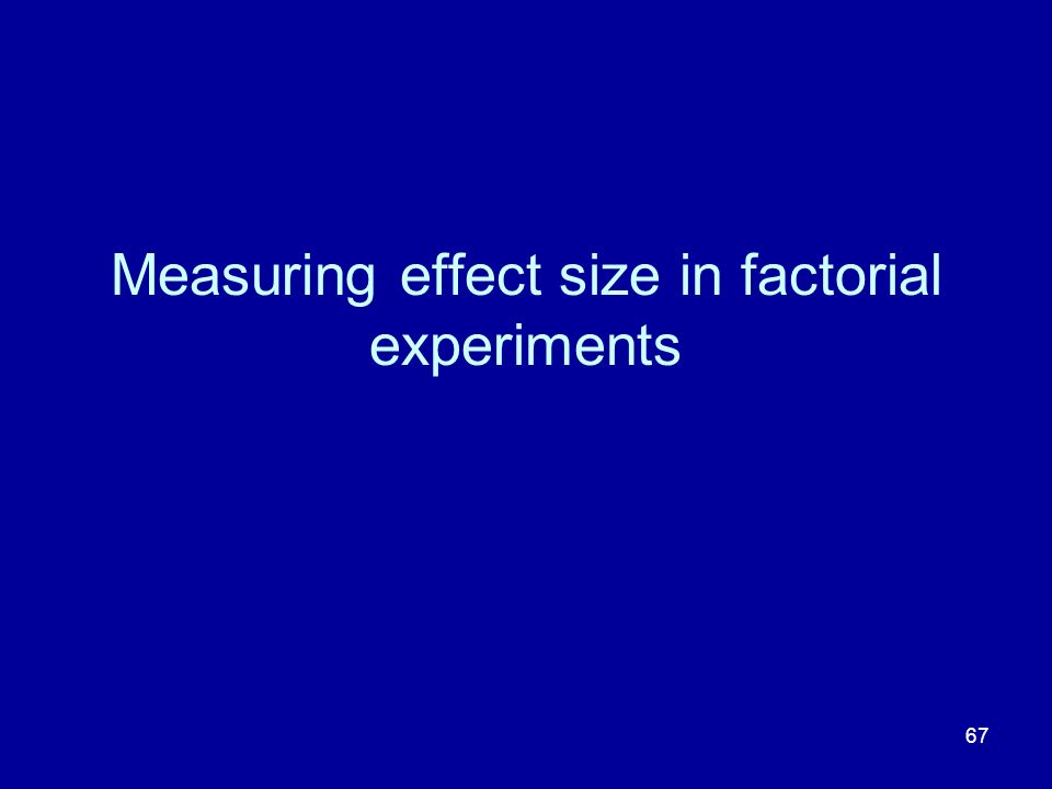 Measuring effect size in factorial experiments