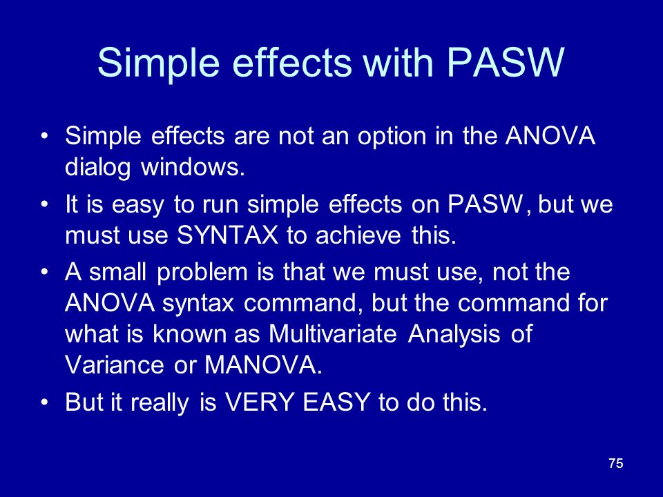 Simple effects with PASW