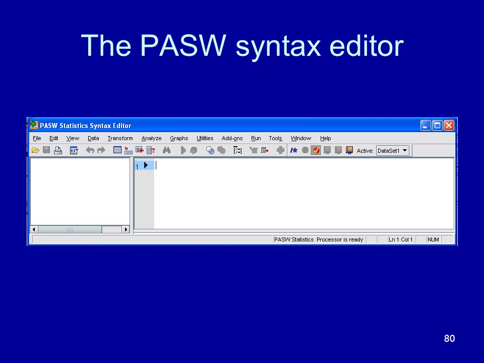The PASW syntax editor