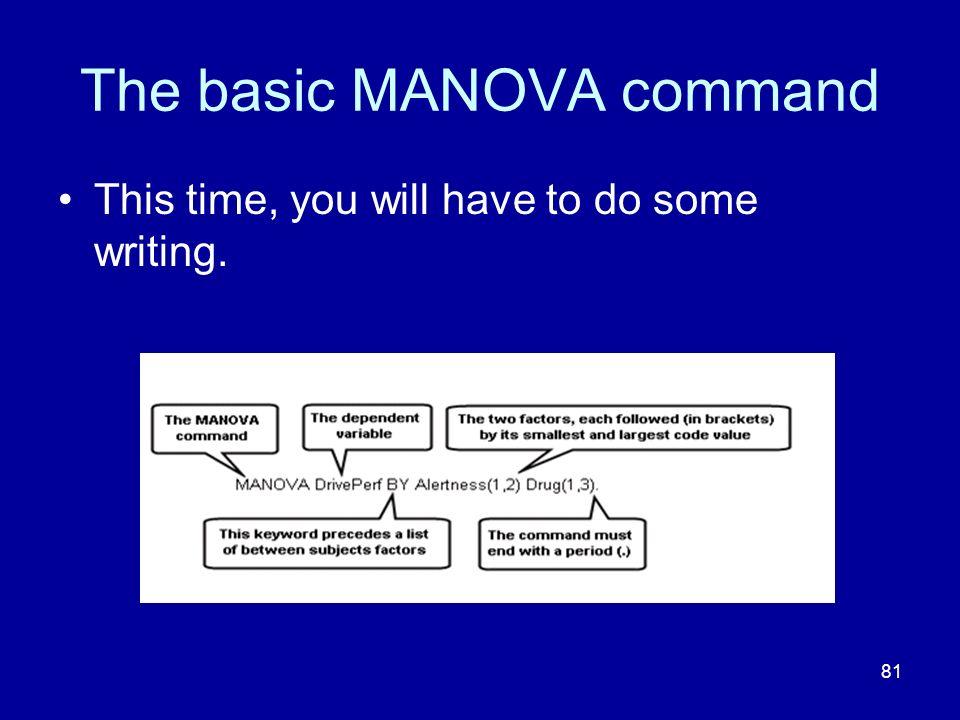 The basic MANOVA command