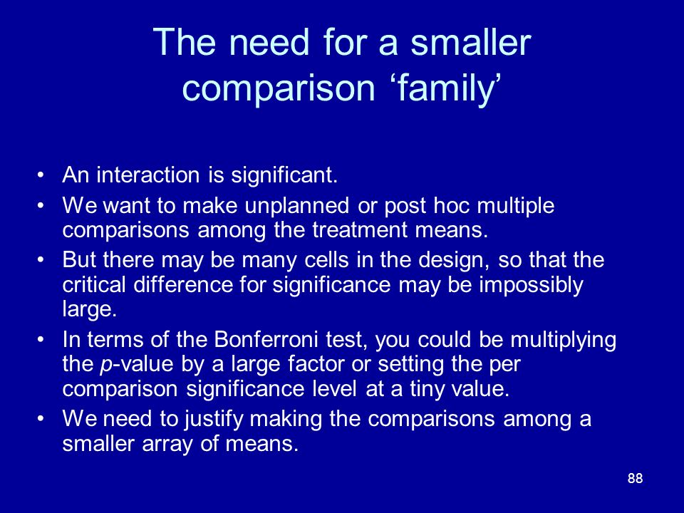 The need for a smaller comparison 'family'