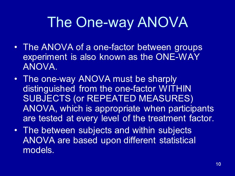 The One-way ANOVA The ANOVA of a one-factor between groups experiment is also known as the ONE-WAY ANOVA.