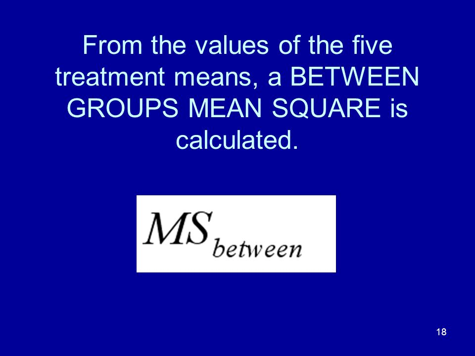 From the values of the five treatment means, a BETWEEN GROUPS MEAN SQUARE is calculated.