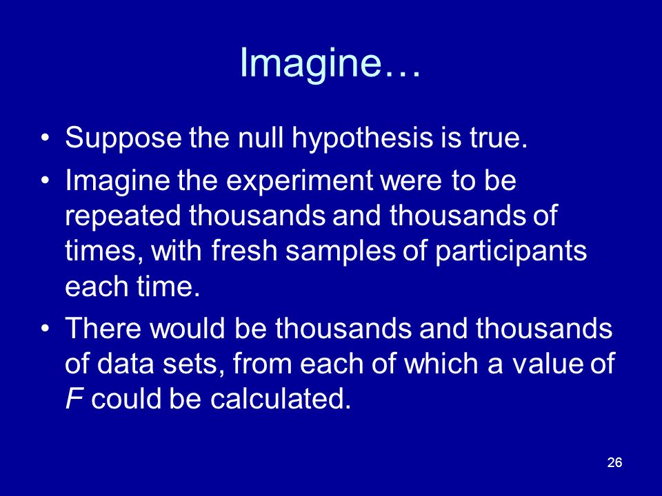 Imagine… Suppose the null hypothesis is true.