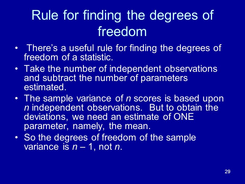 Rule for finding the degrees of freedom