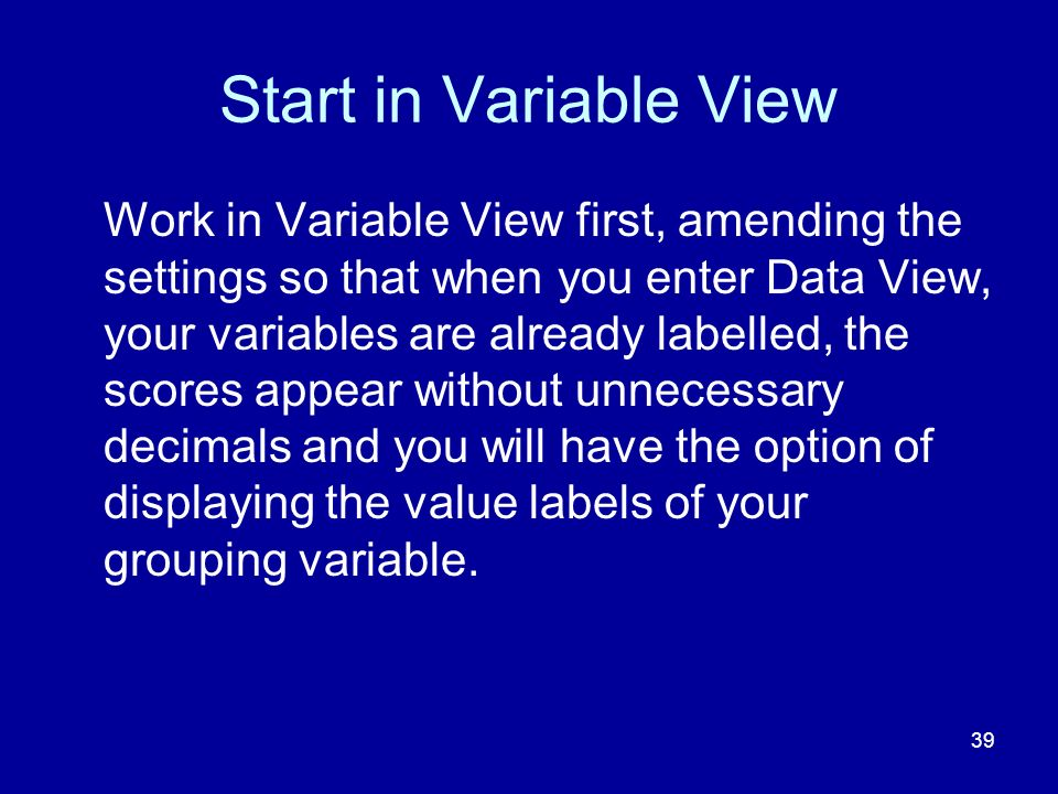 Start in Variable View