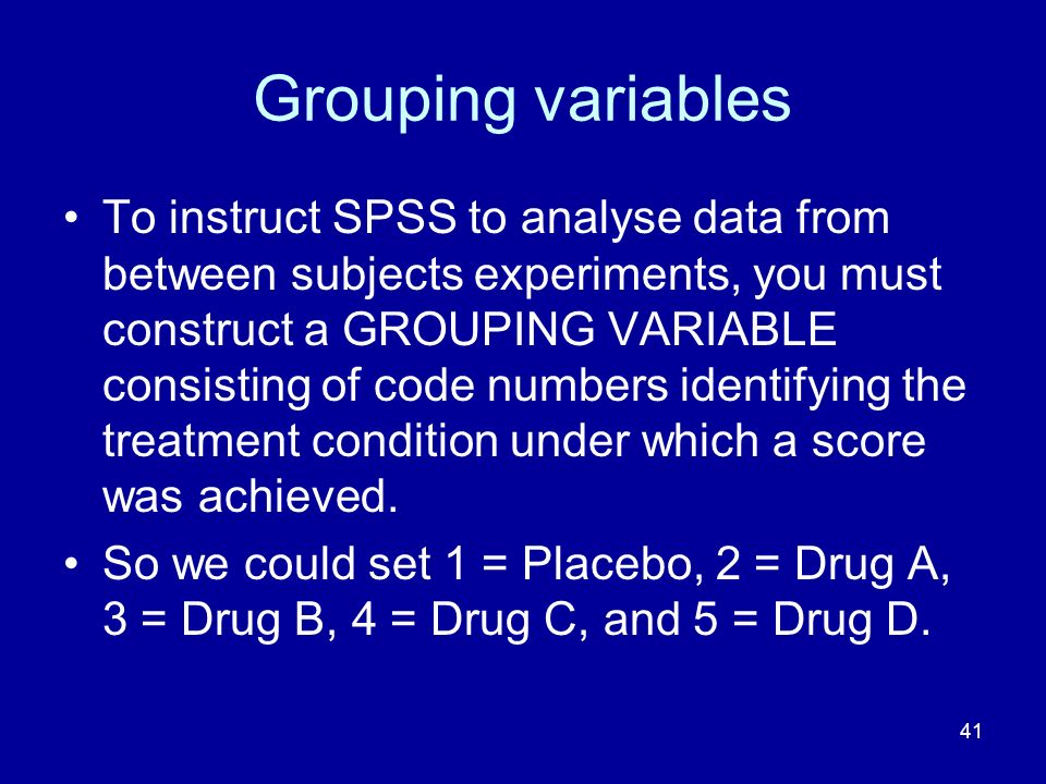 Grouping variables
