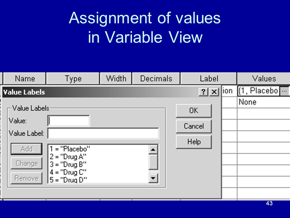 Assignment of values in Variable View