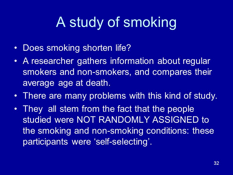 A study of smoking Does smoking shorten life
