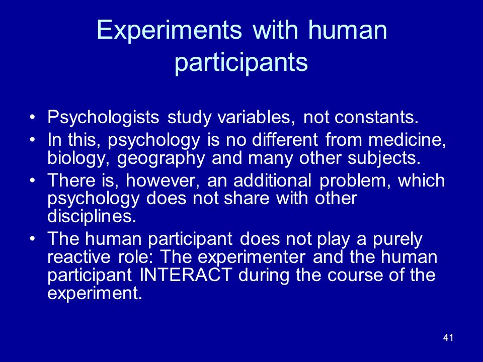 Experiments with human participants