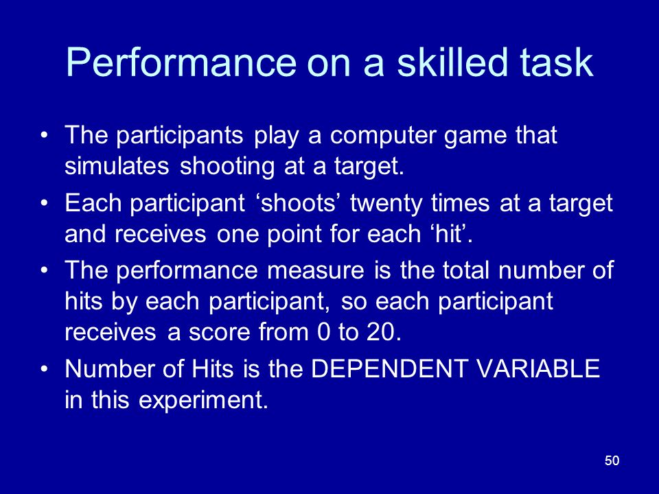 Performance on a skilled task