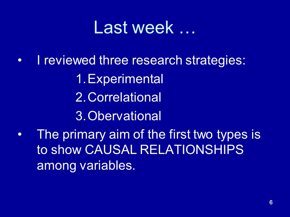 Last week … I reviewed three research strategies: Experimental