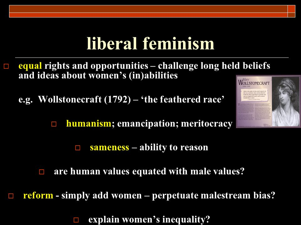 liberal feminism equal rights and opportunities – challenge long held beliefs and ideas about women's (in)abilities.