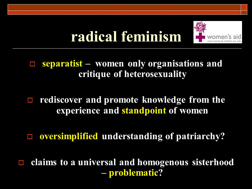 radical feminism separatist – women only organisations and critique of heterosexuality.