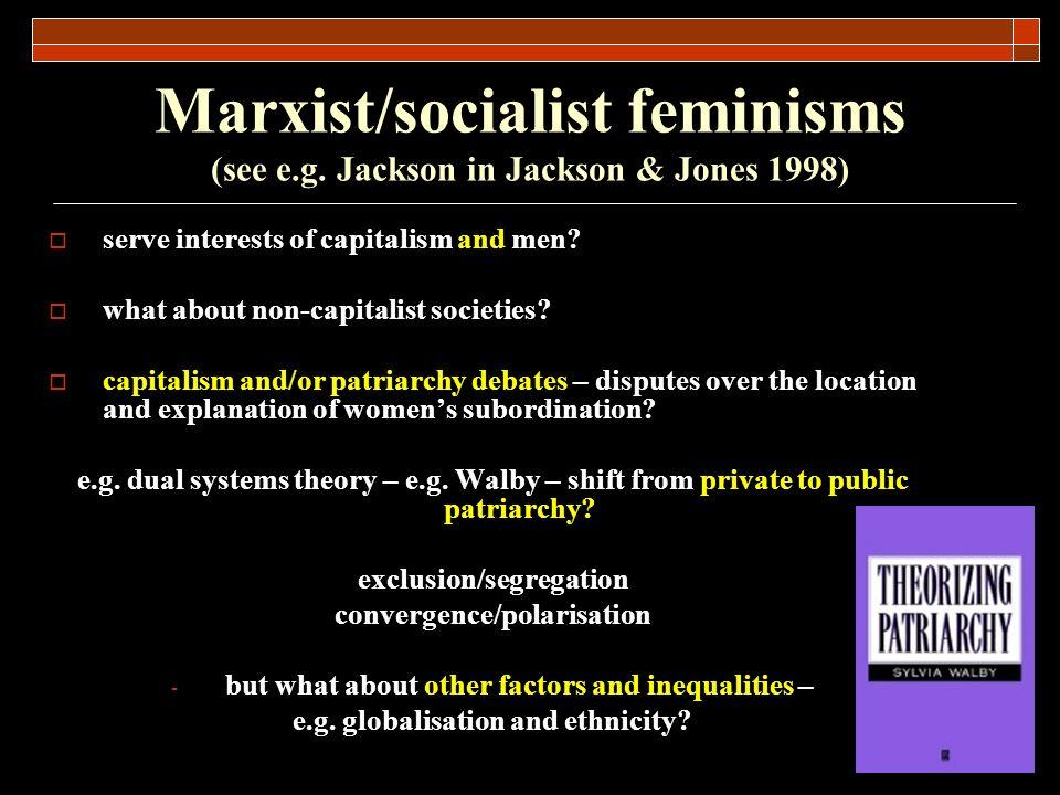 Marxist/socialist feminisms (see e.g. Jackson in Jackson & Jones 1998)