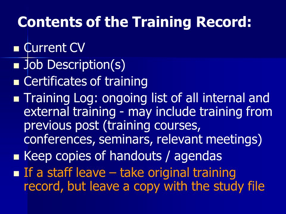 Contents of the Training Record: