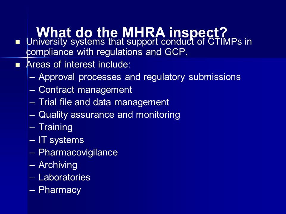 What do the MHRA inspect