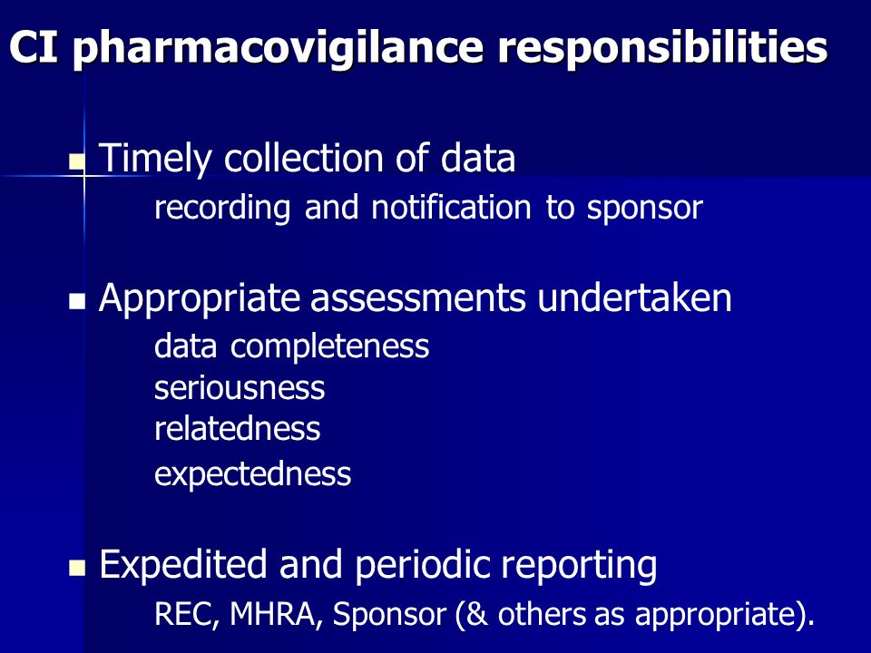 CI pharmacovigilance responsibilities