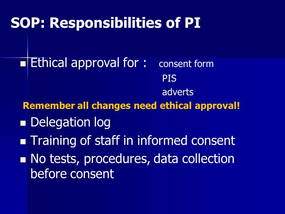 SOP: Responsibilities of PI