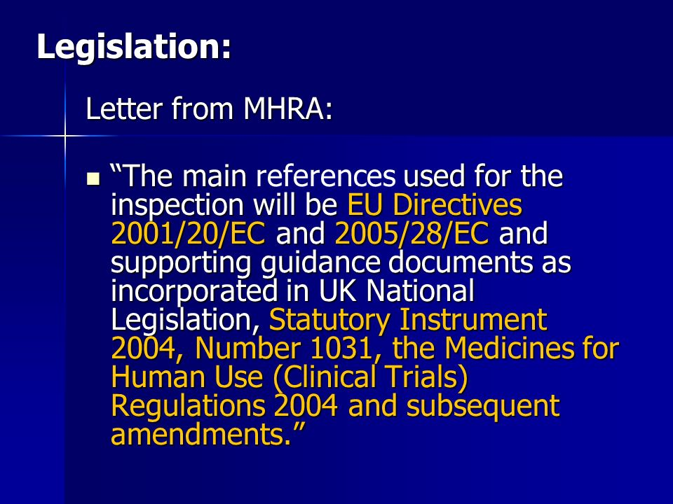 Legislation: Letter from MHRA: