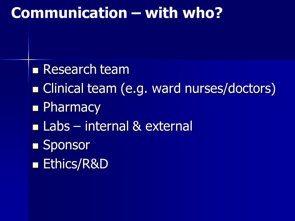 Communication – with who