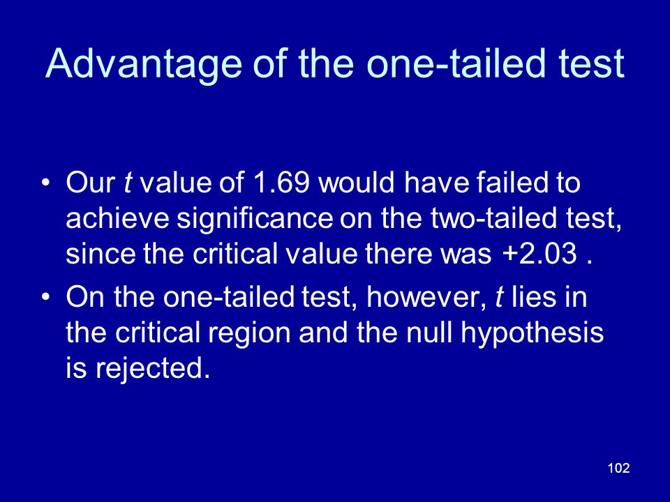 Advantage of the one-tailed test