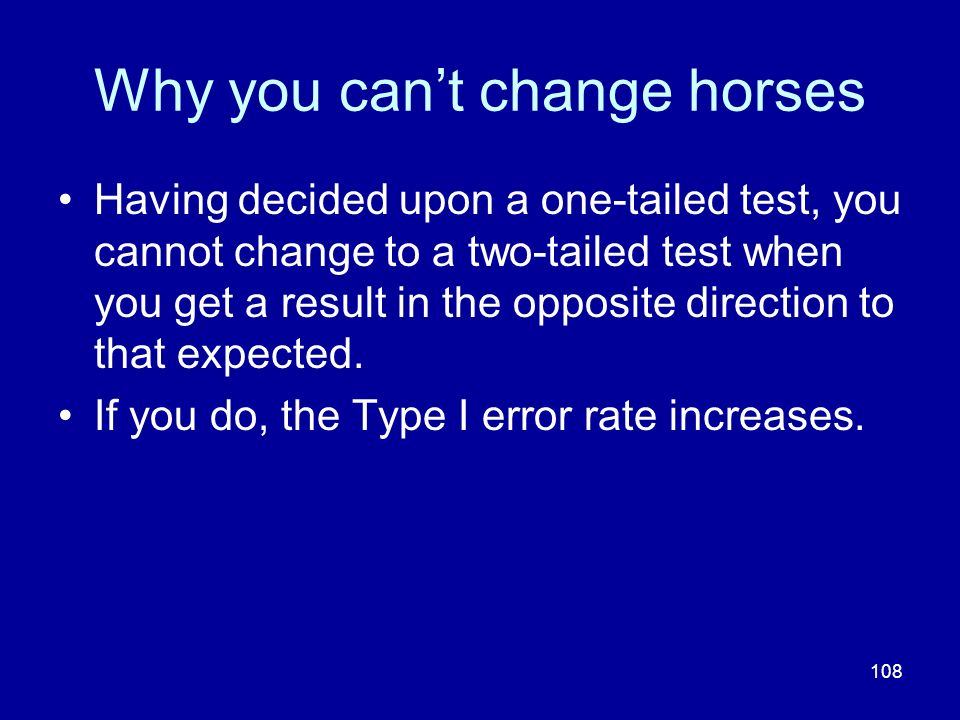 Why you can't change horses