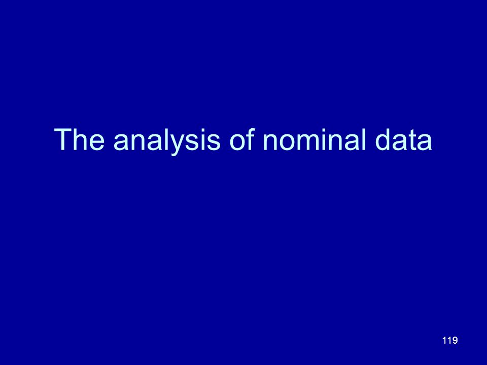 The analysis of nominal data