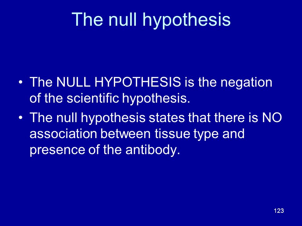 The null hypothesis The NULL HYPOTHESIS is the negation of the scientific hypothesis.