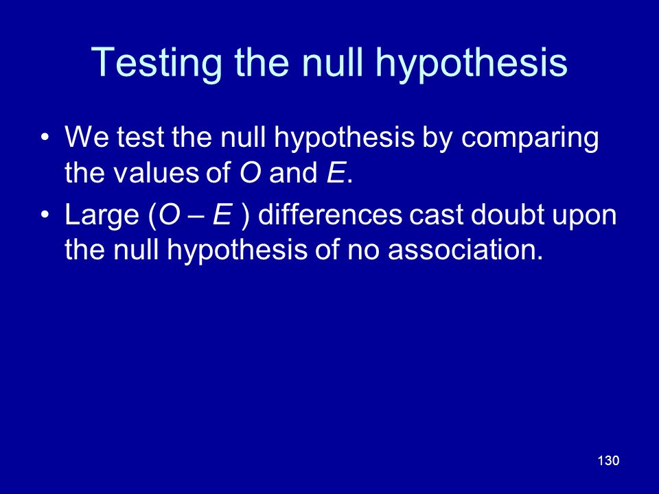 Testing the null hypothesis
