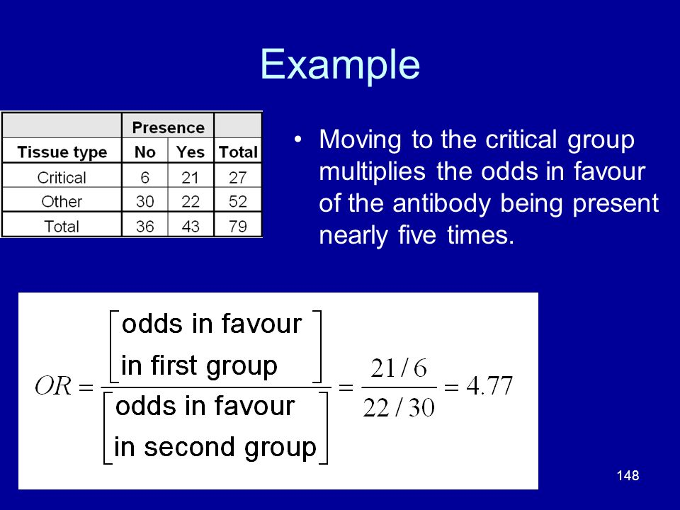 Example Moving to the critical group multiplies the odds in favour of the antibody being present nearly five times.