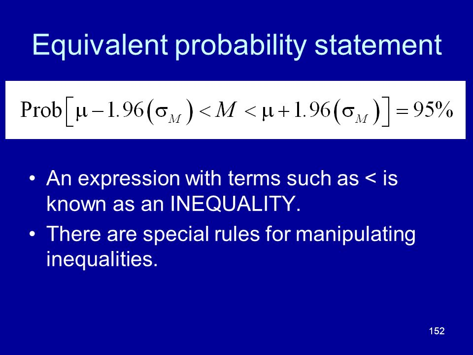 Equivalent probability statement