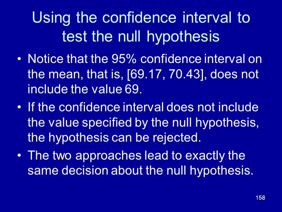 Using the confidence interval to test the null hypothesis