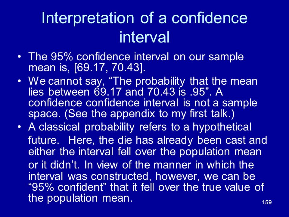 Interpretation of a confidence interval