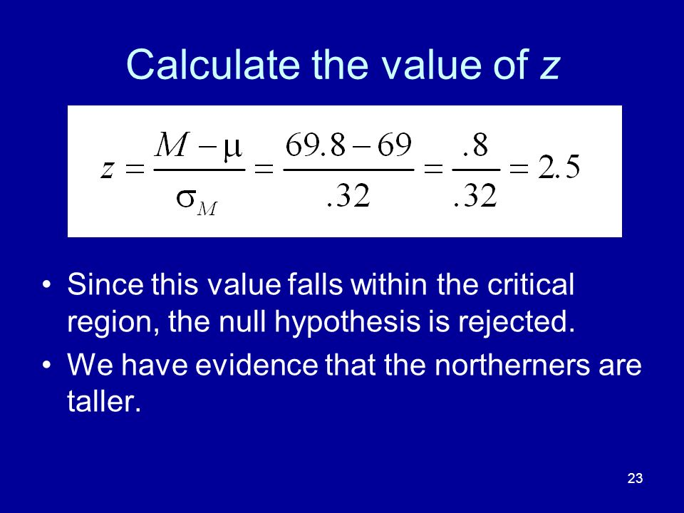 Calculate the value of z