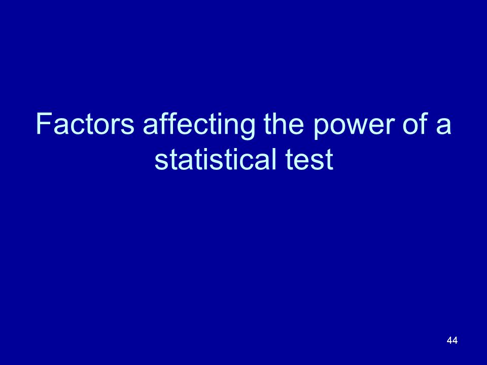 Factors affecting the power of a statistical test