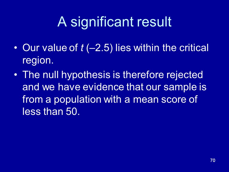 A significant result Our value of t (–2.5) lies within the critical region.