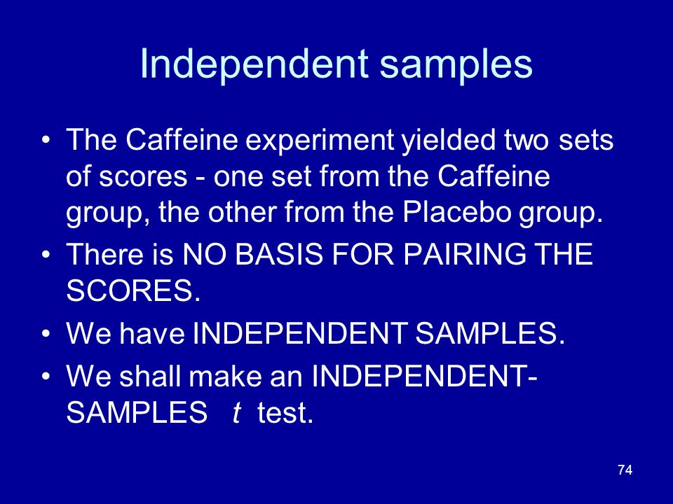Independent samples The Caffeine experiment yielded two sets of scores - one set from the Caffeine group, the other from the Placebo group.