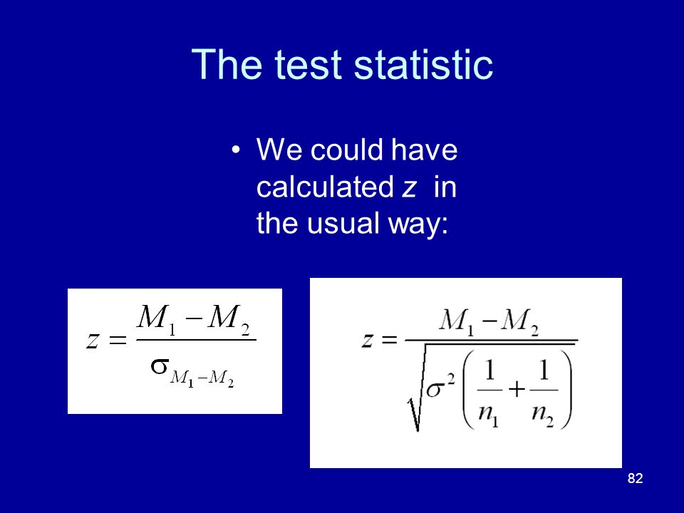 The test statistic We could have calculated z in the usual way: