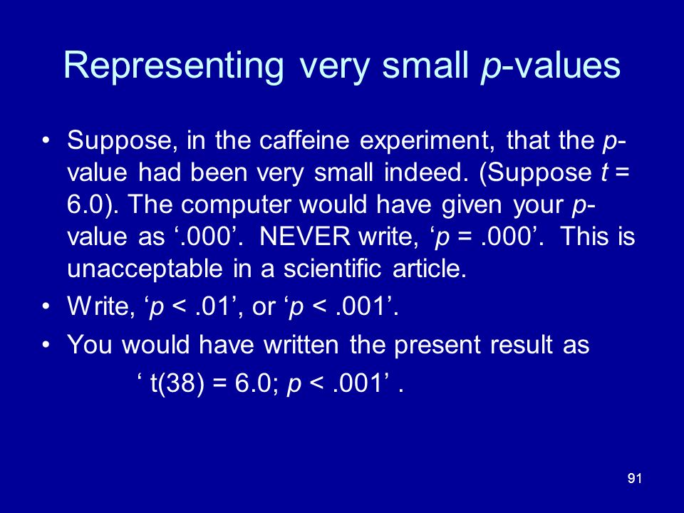 Representing very small p-values