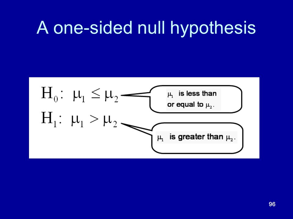 A one-sided null hypothesis