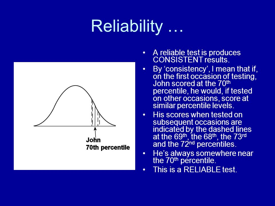 Reliability … A reliable test is produces CONSISTENT results.