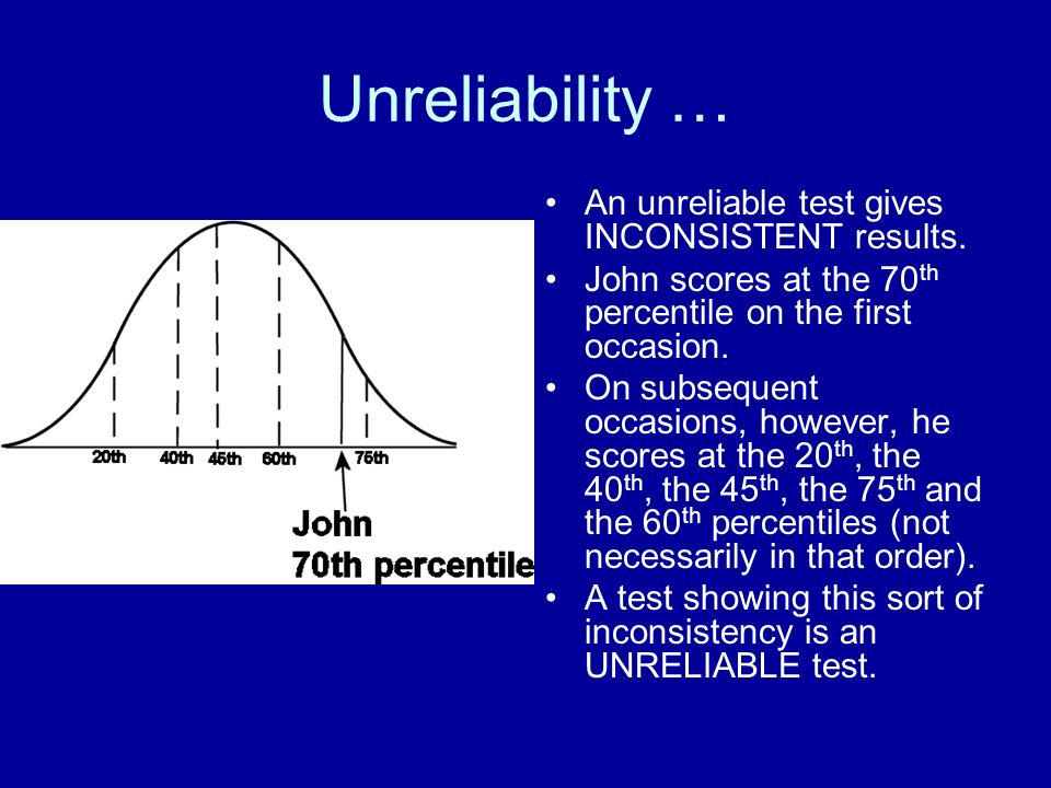 Unreliability … An unreliable test gives INCONSISTENT results.