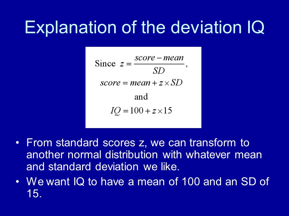 Explanation of the deviation IQ