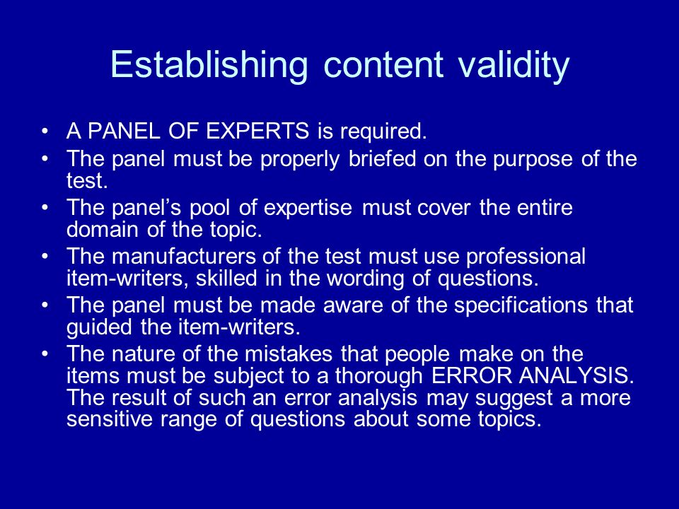 Establishing content validity