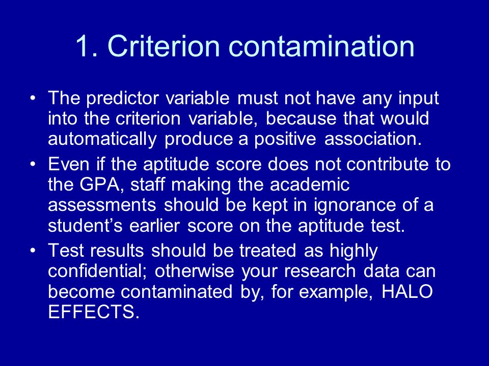 1. Criterion contamination