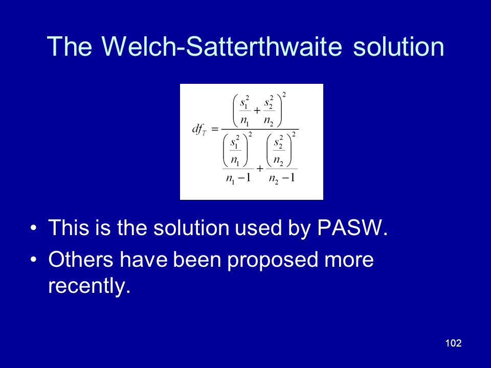 The Welch-Satterthwaite solution