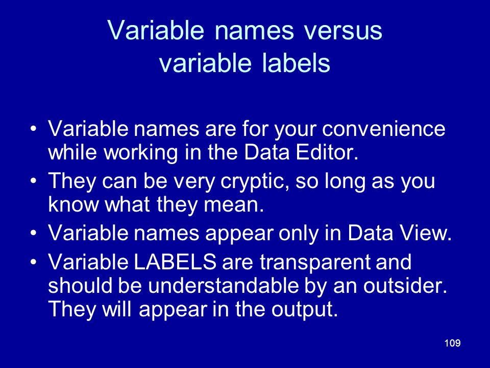 Variable names versus variable labels