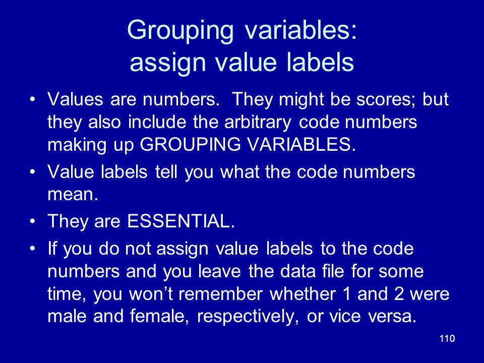Grouping variables: assign value labels